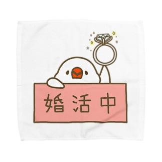 婚活中の白文鳥さん Towel handkerchiefs