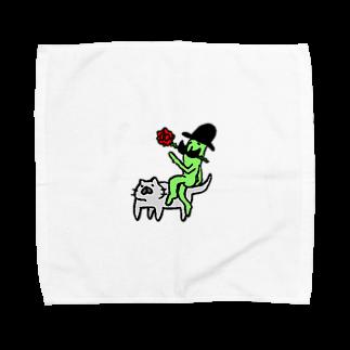 しごにゃんショップの猫に乗ったみどりいろ紳士(薔薇) Towel handkerchiefs