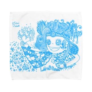 愛と感謝 水色 Towel handkerchiefs