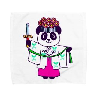 パンダ巫女 舞姿 タオルハンカチ