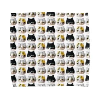 「羊毛フェルトな猫」 総柄 Towel handkerchiefs