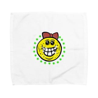笑い太郎リボン付き Towel handkerchiefs