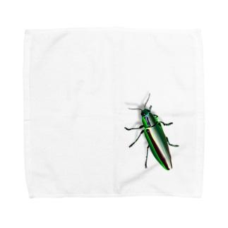 いたずらデザイン(ちょっとタマムシついてますよ) Towel handkerchiefs