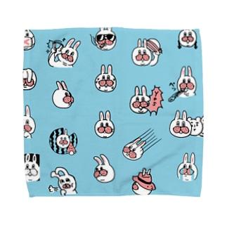 うさぎのササキづくし ブルー Towel handkerchiefs