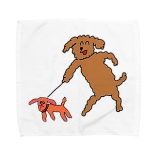 犬と犬おさんぽ Towel handkerchiefs