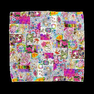 ボールペン画と可愛い動物のカラフルに~ Towel handkerchiefs