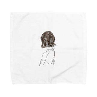 ボブヘアーの女の子 Towel handkerchiefs