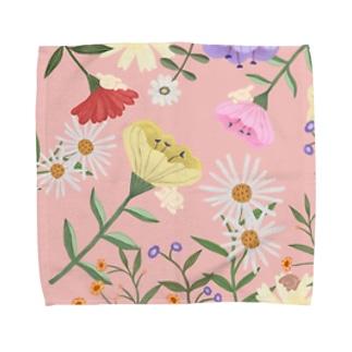 むぎちゃんのいるお花畑 Towel handkerchiefs