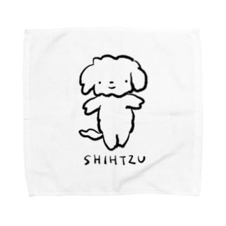 シーズーさん(黒) Towel handkerchiefs
