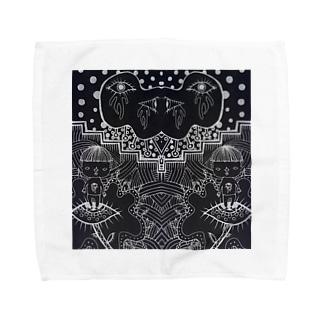 刈り上げさんと目の人黒地1 Towel handkerchiefs