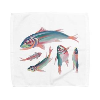川魚抽象?半抽象。 Towel handkerchiefs