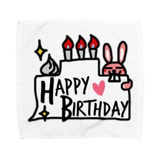 ピンクウサギからのお祝い Towel handkerchiefs