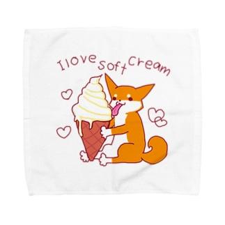 ソフトクリームと柴犬さん(赤柴) Towel handkerchiefs
