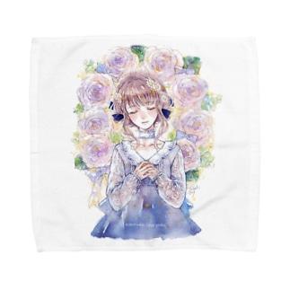 タオルハンカチ「2月のバラのリース」 Towel handkerchiefs