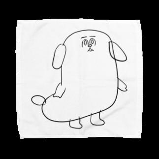 マツバラのもじゃまる茫然 黒 Towel handkerchiefs