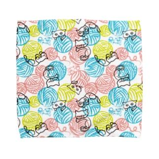毛玉ネコ柄 ハンドタオル Towel handkerchiefs