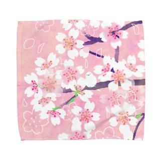 桜と隠れ鳥 Towel handkerchiefs