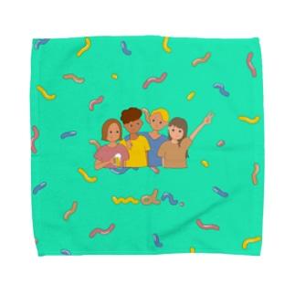 we're chilling out. Towel handkerchiefs