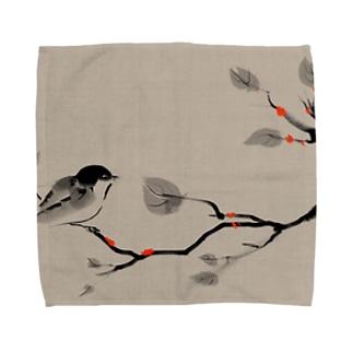 鳥 水墨画 Bird Ink Painting Towel handkerchiefs