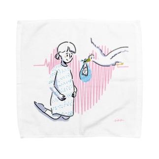 未来のママとコウノトリ Towel handkerchiefs
