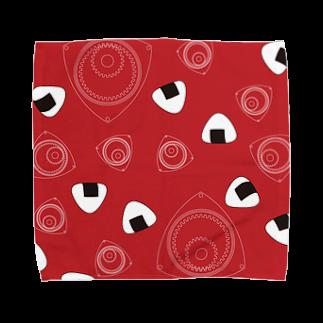 竹脇モータース2号店の回れ焼きおにぎり 赤色 Towel handkerchiefs