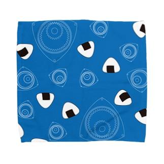 回れ焼きおにぎり 青色 Towel handkerchiefs