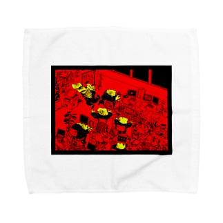 働くカエル達 Towel handkerchiefs