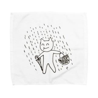雨の日傘ささないもふちゃん Towel handkerchiefs