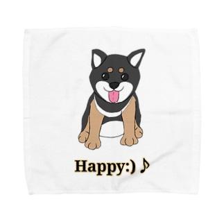 うるうる黒柴犬ちゃん 英語ロゴ Towel handkerchiefs
