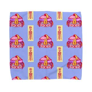 きょんしーちゃん(おふだつき)総柄 Towel handkerchiefs