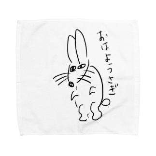 緑のイラスト(うさぎ) Towel handkerchiefs