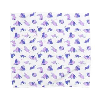 ムラサキネコチャーンのタオルハンカチーフ Towel handkerchiefs