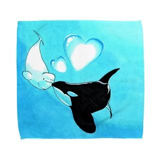 ベルーガとシャチの恋 Towel handkerchiefs