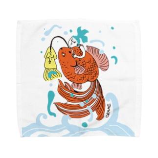 跳ね金魚 Towel handkerchiefs