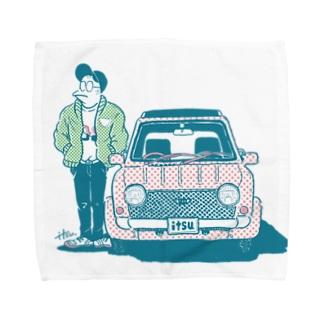 ナルシストとくるま_カラー Towel handkerchiefs