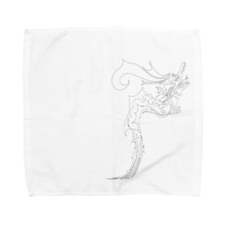 ドラゴン3塗り絵デザイン Towel handkerchiefs