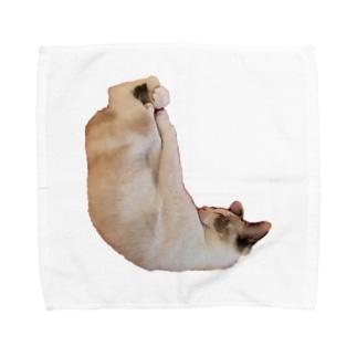 しろみちゃんの寝相が変 Towel handkerchiefs
