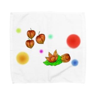 ホオズキ 水玉パターン Towel handkerchiefs