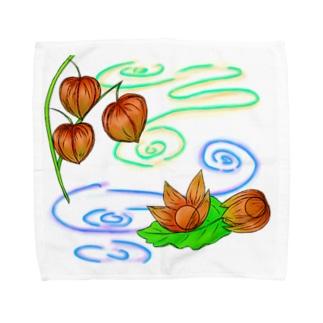枝つきホオズキ 水紋(和柄)その2 Towel handkerchiefs