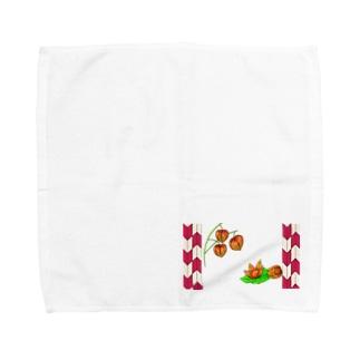 矢がすりフレーム 枝つきホオズキ その2 Towel handkerchiefs