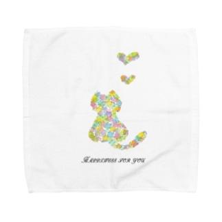 フラワーキャット(猫) Towel handkerchiefs