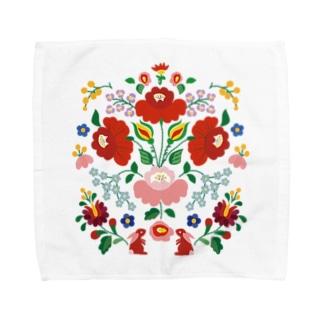 ハンガリー カロチャ刺繍風 タオルハンカチ
