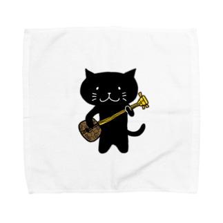 くろねこ沖縄三味線 Towel handkerchiefs