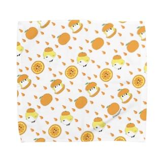 オレンジと ことりタオルハンカチ/ivory Towel handkerchiefs