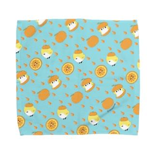 オレンジと ことりタオルハンカチ/green Towel handkerchiefs