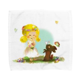 わんこと女の子 Towel handkerchiefs