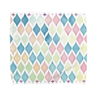 水彩モロッカンタイル風 Towel handkerchiefs