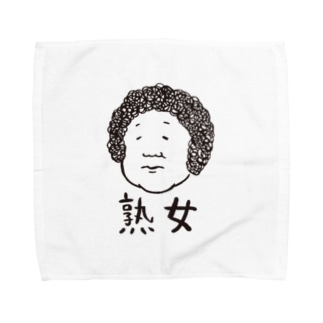 熟女(黒字) Towel handkerchiefs