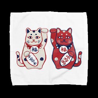 akaneyabushitaの【日本レトロ#01】招き猫 Towel handkerchiefs