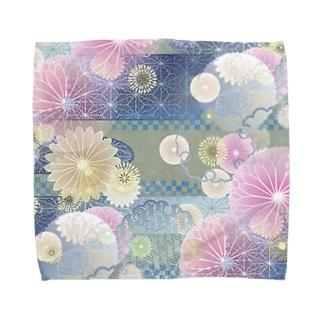 和柄ハンドタオル タオルハンカチ 青地に花 Towel handkerchiefs